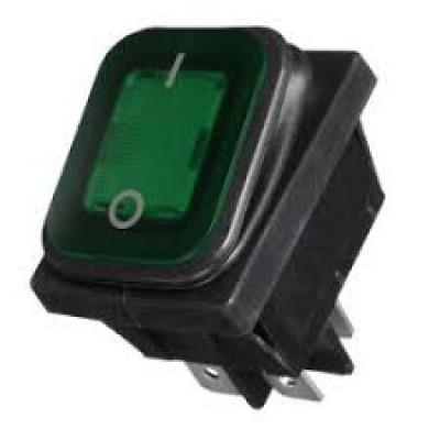 Переключатель универсальный клавишный ON-OFF 4конт 2 полож прямоуг с подсветкой зеленый герметичный