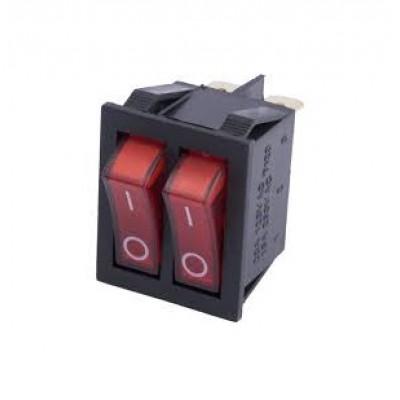 Переключатель KCD3 KCD4 KCD8 16А 250V 2 клавиши   С светкой 5 контактов  ТУРЦИЯ