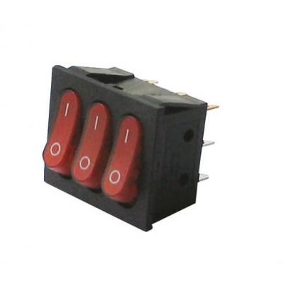 Тройной выключатель, кнопка KCD3  Без светкой AC 250В 16А/30А 4-ти  контактов - Красный  ТУРЦИЯ