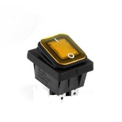 Влагозащищенный переключатель широкий желтый 4pin, ON-OFF, 15А 250В